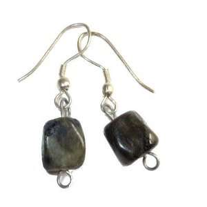 Labradorite Earrings 04 Gray Sheen Nugget Silver Plated Crystal Stone