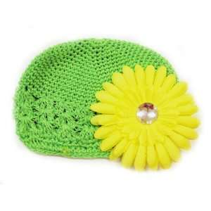 Hat Fits 0   9 Months With a 4 Yellow Gerbera Daisy Flower Hair Clip