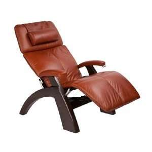 Silhouette Zero Gravity Recliner with Dark Walnut Base, Cognac Premium