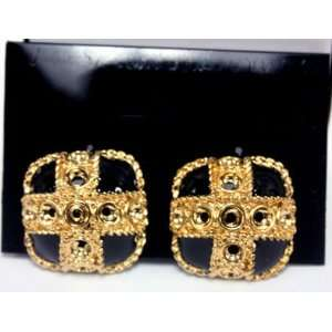 Black Onyx Square Earrings with Ornamental Gold Plated Cross   Clip On