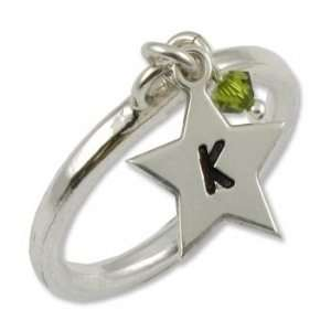 Sterling Silver Star Initial Ring with Birthstone Jewelry