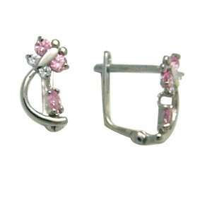 Pink   Spring Time Butterfly 14k White Gold Huggie Earrings Jewelry