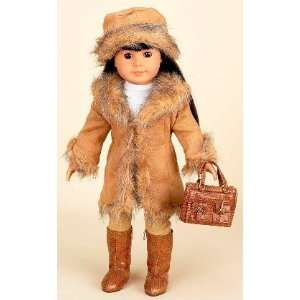 Fur Trim Seude Coat Set For American Girl Dolls Toys & Games