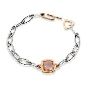 Kris Ladies Bracelet in White/Pink Bronze and Steel with