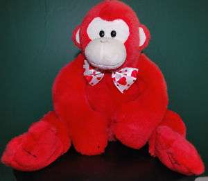 TY Classic Plush Valentines Day Red Monkey Collectible