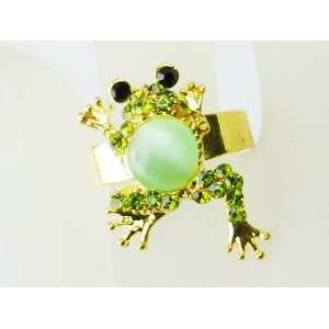 Body Emerald Green Crystal Rhinestone Gold Tone Toad Froggy Frog Ring