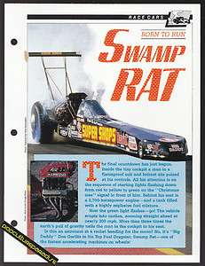 THE SWAMP RAT DRAG RACING CAR Don Garlits History Photo INFO SPEC