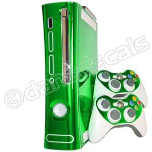 GREEN CHROME SKIN for Xbox 360 system faceplate mod kit