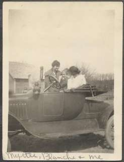 Car Photo 3 Farm Girls w/ Model T Ford Roadster 671479
