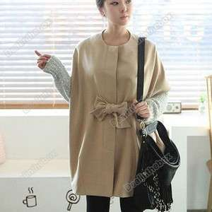Korean hot cakes bowknot belt loose cloak dust coat Autumn Winter Good