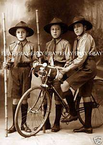 1910   1920  3 EARLY BOY SCOUTS & A BICYCLE    SCOUT UNIFORM PHOTO