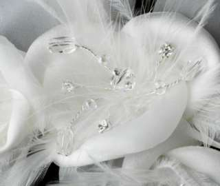 Feather Flower Bridal Hair Comb with Crystals