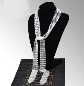 2COLORS Lots of Rhinestone White Black Tie Necklace ~~ Best Gift Free