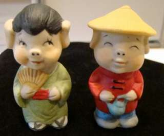 VTG MID CENTURY CHINESE BISQUE BOY/GIRL PIG FIGURINES