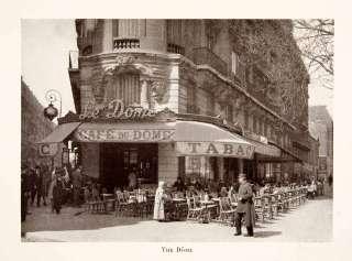 1931 Print Du Dome Cafe Left Bank Paris France Montparnasse Food