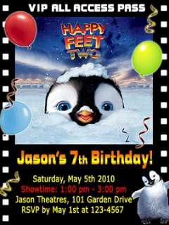 Penguin Movie Birthday Party Ticket Invitations VIP Badges