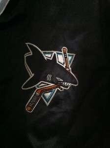 VTG SAN JOSE SHARKS NHL SATIN STARTER JACKET COAT CHALK LINE PARKA