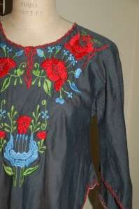 Vintage 60s 70s Womens Navy Blue Colorful Embroidered Mexican Tunic