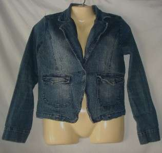 Juniors Miss Lili Blue Denim Jean Jacket Blazer Large