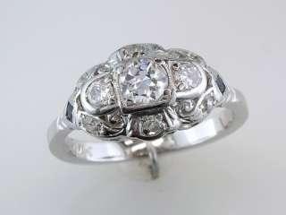 Vintage Antique Art Deco .88ct Diamond Sapphire 14K White Gold