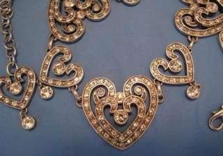 Brighton Silver Swarovski Crystal Hearts Collection Chain Belt Size M