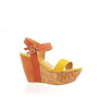 Chinese Laundry Womens Wedge Sandals Go Getter Yellow/Orange Leather