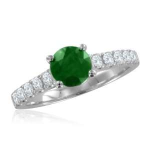 Natural Emerald Pave Diamond Engagement Ring 14k White Gold Band (G