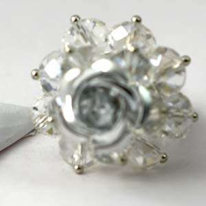 Nice CZ Zirconia Crystal Beads Flower Adjustable Finger Ring