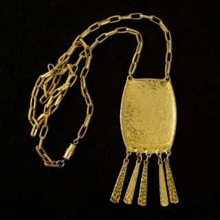 Vtg 70s Egyptian Revival Tassel Runway Necklace Hammered Gold Tone