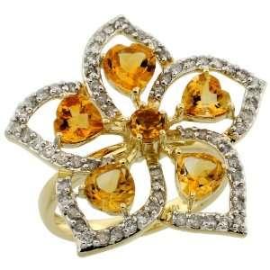 10k Gold Large Flower Ring, w/ 0.60 Carat Brilliant Cut Diamonds & 2