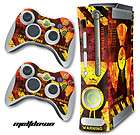 COVER DECAL FOR ORIGINAL XBOX 360 + 2 CONTROLLER SKINZ MOD MELTDOWN