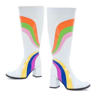 Knee High GOGO Boots White Rainbow Retro 6 12