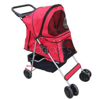 Red 4 Wheels Folding Pet Dog Cat Stroller CARRIER HEAVY DUTY