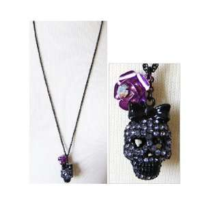 Betsey Johnson Dark Forest Skull w/ Rose Necklace (FINAL SALE)