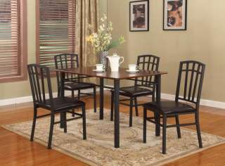 PC Black / Walnut Finish Wood & Metal Dining Room Kitchen Table and