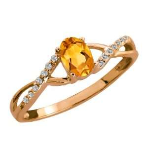 0.48 Ct Oval Yellow Citrine and White Topaz 14k Rose Gold