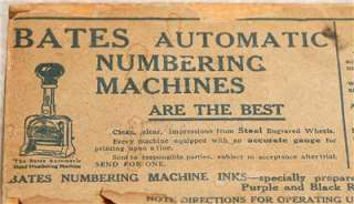 ANTIQUE BATES AUTOMATIC NUMBERING MACHINE WITH BOX
