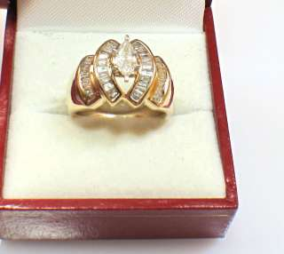 14k Yellow Gold Natural 1.40ct Marquise Baguette Diamond Engagement