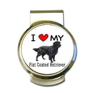 I Love My Flat Coated Retriever Money Clip Office