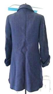 Vtg 40s WWII 50s Blue Wool Fit Flare Coat Huge Cuffs