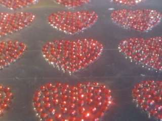 12 Red Adhesive Vajazzle HEART Gems Stick On DIAMANTES