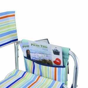 Portable Folding Sports Chair, Aqua Blue St.Tropez Stripe Patio, Lawn