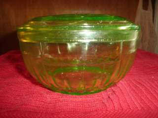 VASELINE URANIUM GLASS COVERED BOWL w/ GLASS TOP