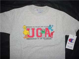 UGA Gray Georgia Bulldogs Sesame Street T shirt youth LG