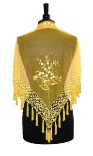 Hand Made Beaded Embroidered Shawl Scarf Yellow Gold