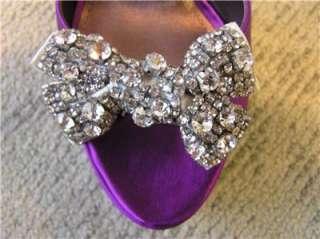 NIB Steve Madden LUVLY peep toe pump sandals CRYSTAL BOW shoes purple