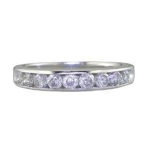 CT Mens Diamond Wedding Band 14K White Gold (I1 I2 Clarity) In Size