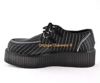 DEMONIA Gothic Punk Pinstripe Satin Mens Creepers Shoes 885487001746