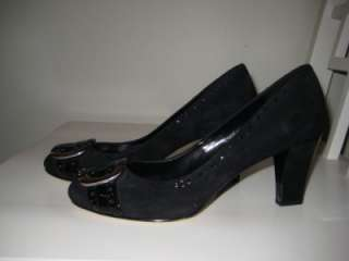 FRANCO SARTO Black Suede Classic Pumps Heels 7.5 New