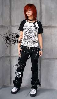Japan Kera VISUAL kei PUNK Emo Buckle Pants Trousers S